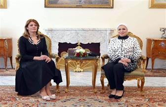 انتصار السيسي: سعدت بلقاء السيدة الأولى لدولة بلغاريا وكان لقاء مثمرا