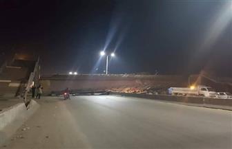 توقف حركة المرور بطريق القاهرة - الإسكندرية بسبب سقوط كوبري مشاة