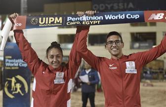 الزوجي المصري يحرز ذهبية كأس العالم للخماسي الحديث صور