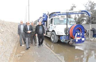 محافظ الجيزة يتابع عمليات شفط مياه الأمطار ..وإصلاح كسر بماسورة مياه بشارع ميشيل باخوم|صور