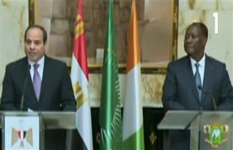 """الرئيس السيسي: زيارة """"كوت ديفوار"""" تهدف لتعزيز أواصر الود والعلاقات المشتركة"""