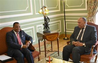 تفاصيل لقاء شكري نظيره الكونغولي وتسلمه رسالة من رئيس جمهورية الكونغو إلى الرئيس السيسي | صور