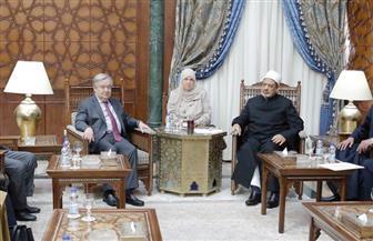 بدء لقاء الإمام الأكبر والأمين العام للأمم المتحدة | صور