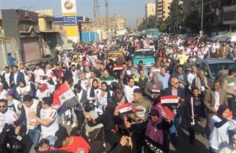بالأغاني الوطنية وأعلام مصر.. مسيرة لأهالي حدائق القبة لدعم المشاركة في الاستفتاء| صور