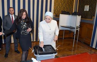 قرينة الرئيس السيسي تدلي بصوتها في الاستفتاء على التعديلات الدستورية| صور وفيديو