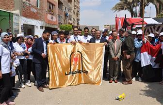 رئيس جامعة حلوان وحشد كبير من القيادات والطلاب يشاركون في الاستفتاء على التعديلات الدستورية | صور