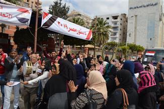 العاملون بمحافظة بورسعيد يشاركون بالتصويت في الاستفتاء على التعديلات الدستورية