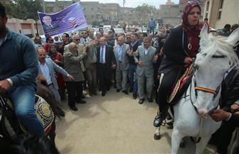 مسيرة بالخيول والمزمار البلدي بكفرالشيخ بحضور المحافظ لحث المواطنين على المشاركة في الاستفتاء | صور