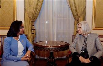 رئيسة بعثة جامعة الدول العربية للمرأة تلتقي مايا مرسي للتعاون في متابعة الاستفتاء | صور