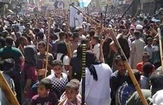 مسيرة حاشدة لشباب البياضية ورقص بالعصي أمام لجان الاستفتاء بالأقصر | صور