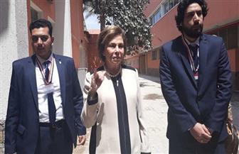 ميرفت التلاوي تدلي بصوتها وترفع الأعلام مع السيدات في الاستفتاء على التعديلات الدستورية | صور