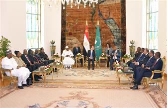 الرئيس السيسي يؤكد ضرورة تبني الزعماء الأفارقة موقفا موحدا لمساعدة الشعب السوداني | صور