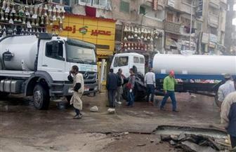 انفجار ماسورة مياه بميدان الساعة شرق الإسكندرية |صور