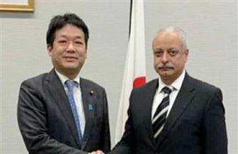 السفير المصري في طوكيو يبحث علاقات التعاون الثنائي مع المستشار السياسي لرئيس الوزراء الياباني