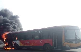 حريق بأتوبيس تابع لهيئة النقل العام بحدائق القبة | صور