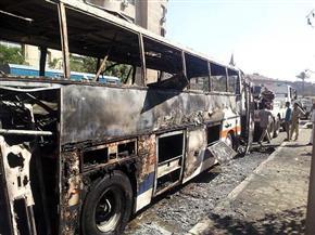 احتراق أتوبيس نقل عام بسبب حرارة الجو في القاهرة