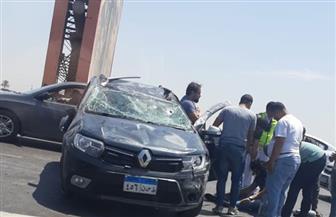 تصادم 4 سيارات أعلى محور 26  يوليو.. وكثافات مرورية بسبب الحادث