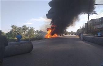 حريق في مواسير خط طرد صرف صحي بمدينة القرنة غرب الأقصر