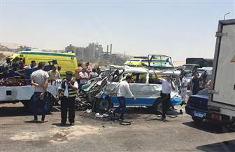 تفاصيل مصرع 14 شخصا وإصابة ١١ في حادث الأوتوستراد|صور