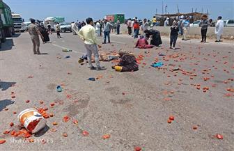 """إصابة 14 شخصا في انقلاب """"نصف نقل"""" بالطريق الدولي الساحلي بكفر الشيخ"""