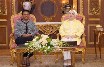 انتصار السيسي تستقبل سيدة بوروندي الأولى خلال زيارتها لمصر| صور