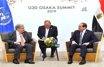 تفاصيل لقاء الرئيس السيسي مع سكرتير عام الأمم المتحدة على هامش قمة العشرين بأوساكا