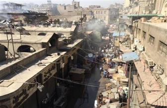 لجنة هندسية تعاين سوق الخضار التاريخي بالعتبة بعد احتراقه