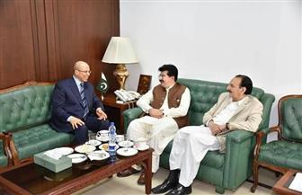 السفير المصري في باكستان يلتقي رئيس مجلس الشيوخ وزعيم المعارضة