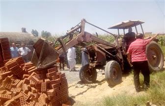 إزالات فورية للتعدي على الأراضي الزراعية وأملاك الدولة بمركزي تلا والباجور | صور