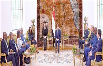 تفاصيل استقبال الرئيس السيسي رئيسة الجمعية الوطنية التوجولية | فيديو وصور