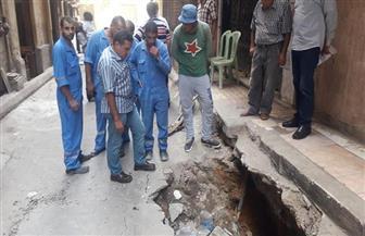 هبوط أرضي مفاجئ بمنطقة محرم بك في الإسكندرية | صور