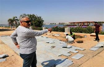 رئيس مدينة الأقصر: تركيب بلاط من نوع الجرانيت وحجر البازلت بكورنيش النيل| صور