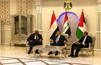 تفاصيل البيان المشترك لاجتماع وزراء خارجية مصر والعراق والأردن | صور