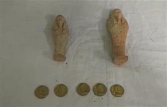 العثورعلى تمثالين و5 عملات أثرية بحوزة عامل بأسيوط