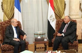 وزير الخارجية يستقبل نظيره الفرنسي لمناقشة دفع العلاقات الثنائية بين البلدين