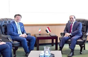 تفاصيل لقاء الرئيس السيسي مع رئيس وزراء إيطاليا | صور