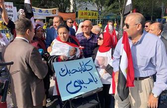 المصريون يواصلون الاحتشاد أمام مقر الأمم المتحدة لدعم الرئيس السيسي ومؤسسات الدولة | صور
