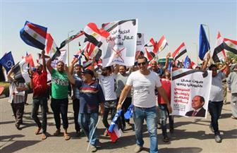 عمال سيراميكا كليوبترا بالسويس ينظمون مسيرة مؤيدة لاستقرار الدولة| فيديو وصور