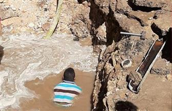 كسر مفاجئ لخط مياه يقطع المياه عن حي غرب مدينة سوهاج | صور