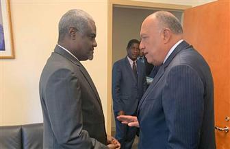 وزير الخارجية يعقد لقاءات جانبية مع نظيره المغربي ورئيس مفوضية الاتحاد الإفريقي | صور