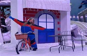 منة عرفة في رحلة للتزلج على الجليد   صور