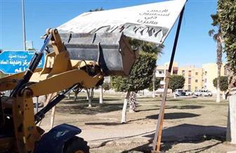 جهاز مدينة السادات يشن حملة لإزالة الإعلانات المخالفة| صور