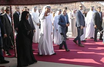 """الرئيس السيسي وولى عهد أبو ظبي يشهدان """"عرض الإبل"""".. فن استعراضي من التراث الإماراتي"""