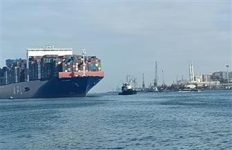 ميناء غرب بورسعيد يستقبل أكبر سفينة للحاويات بحمولة 169 ألف طن | صور