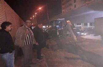 """كسر بخط المياه الرئيسي بمنطقة """"عبدالمنعم رياض"""" في طنطا يتسبب في انقطاعها"""