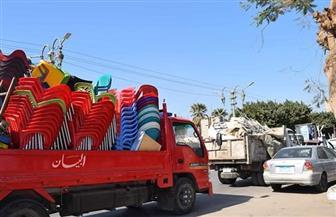 حملة لرفع الإشغالات والتعديات بكورنيش النيل في المنيا