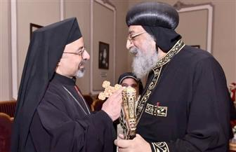 البطريرك إبراهيم إسحق ووفد الكنيسة الكاثوليكية يهنئون البابا تواضروس بعيد الميلاد | صور