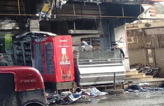 السيطرة على حريق في 3 محلات تجارية بالشارع التجاري في الحامول | صور