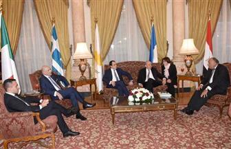 بدء الاجتماع التنسيقي لوزراء خارجية مصر وفرنسا وإيطاليا وقبرص واليونان بالقاهرة | صور