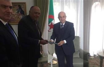 الرئيس الجزائري يستقبل سامح شكري ويتسلم رسالة من الرئيس السيسي
